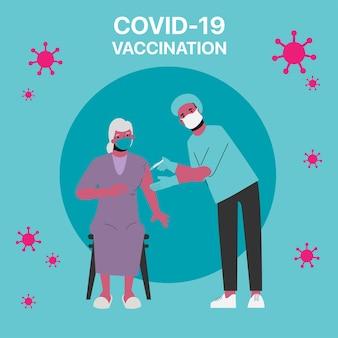 Idosos em risco de receberem a vacina covid-19 no hospital.