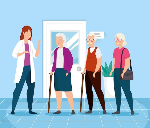 Idosos falando de médico feminino