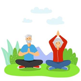Idosos fazendo esporte casal de idosos aposentados praticando exercícios atividade saudável