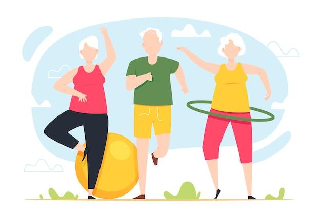 Idosos fazendo exercícios ao ar livre