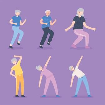 Idosos fazendo exercícios
