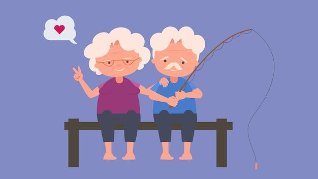 Idosos felizes atividades de pesca, amantes idosos, bom humor e saúde física, amantes idosos, passam um tempo juntos felizes, bom humor e saúde física