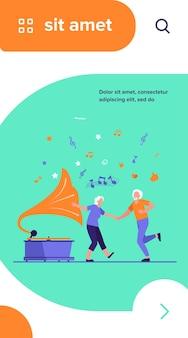 Idosos felizes dançando ilustração vetorial plana isolada. desenho animado engraçado casal de idosos ativos se divertindo juntos