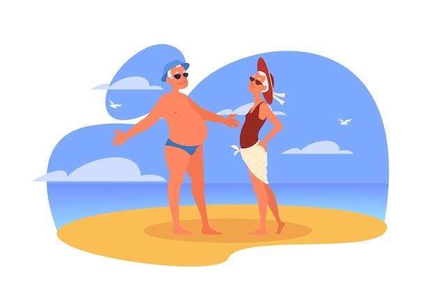 Idosos felizes e ativos, passando um tempo juntos na praia. casal aposentado em suas férias de verão. mulher e homem na aposentadoria.