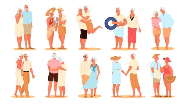 Idosos felizes e ativos, passando um tempo no conjunto de praia. casal aposentado em suas férias de verão. mulher e homem na aposentadoria.