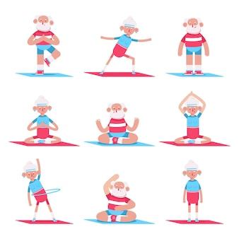 Idosos fofos fazendo exercícios de ioga e fitness