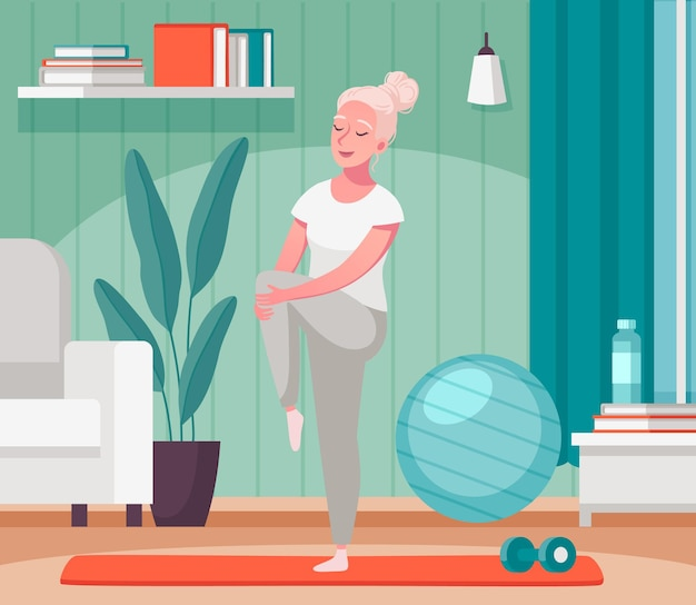 Idosos idosos em casa, atividades em casa, composição dos desenhos animados com a senhora esticando as pernas no tapete de fitness