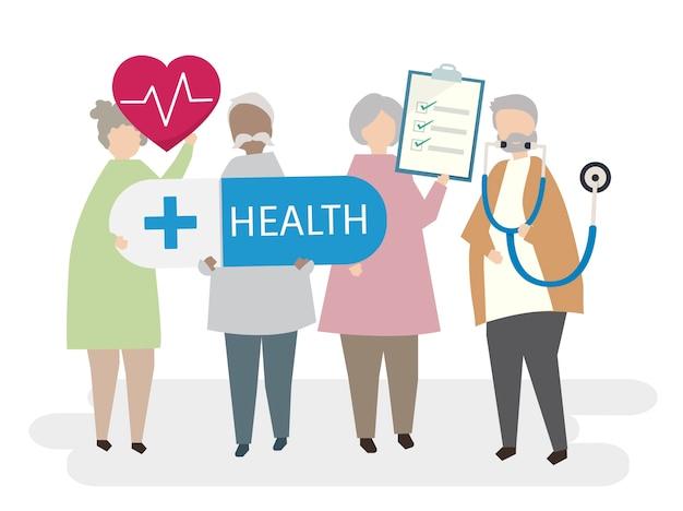 Idosos ilustrados com foco em saúde