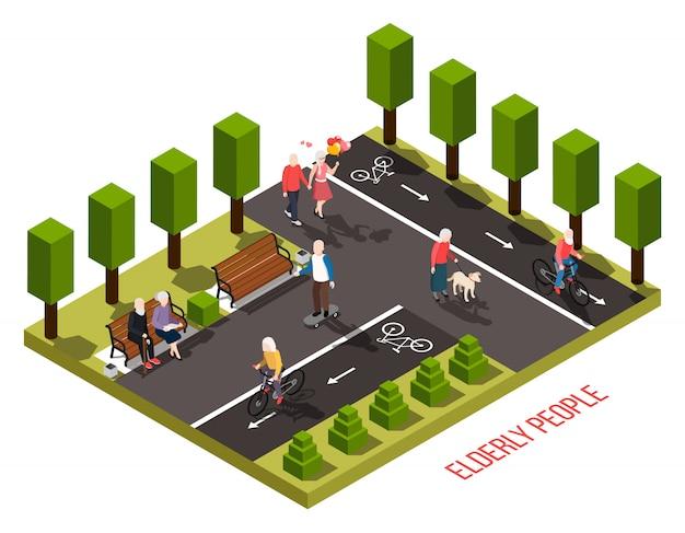 Idosos, lar de idosos, área de recreação ao ar livre, composição isométrica, com residentes, andar de bicicleta, andar, cachorro, leitura, ilustração