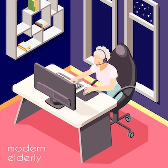 Idosos modernos ilustrados isométricos mulher sênior com fone de ouvido trabalhando na ilustração de laptop
