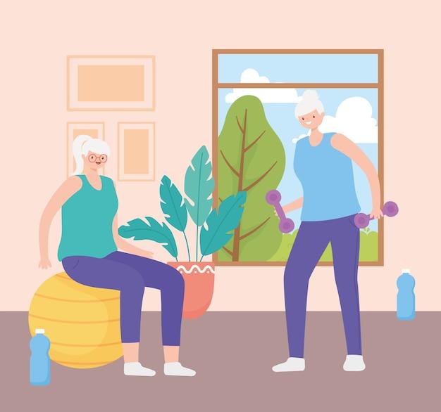 Idosos, mulheres idosas fazendo exercícios em casa ilustração vetorial