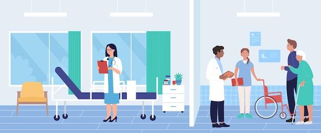 Idosos no hospital visitando médico para exame de medicina de diagnóstico