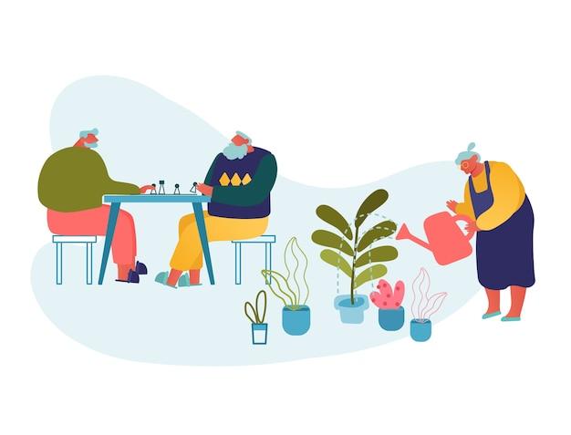 Idosos passam o tempo no asilo, jogando xadrez e jardinagem.