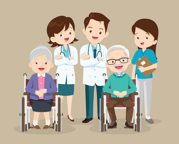 Idosos sentam em uma cadeira de rodas com médico cuidando