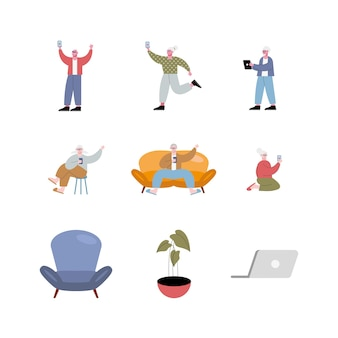 Idosos usando personagens de tecnologia e ilustração de conjunto de ícones