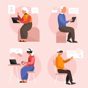 Idosos usando tecnologia e sentados