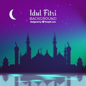 Idul fitri fundo com mesquita