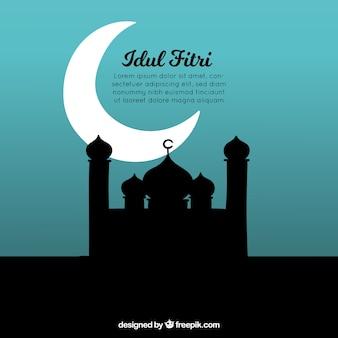 Idul fitri fundo com silhueta de mesquita
