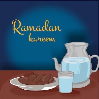 Iftar do ramadã com datas de mão desenhada e comida islâmica