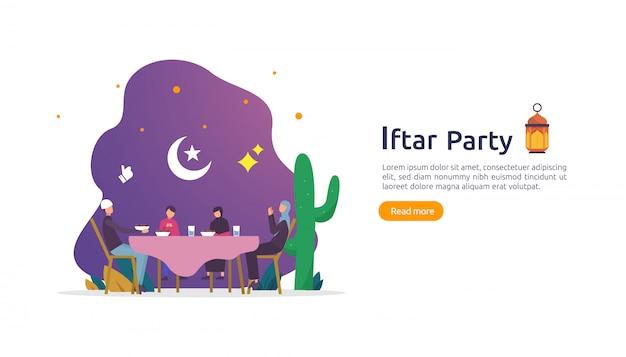Iftar eating after fasting conceito festa de festa