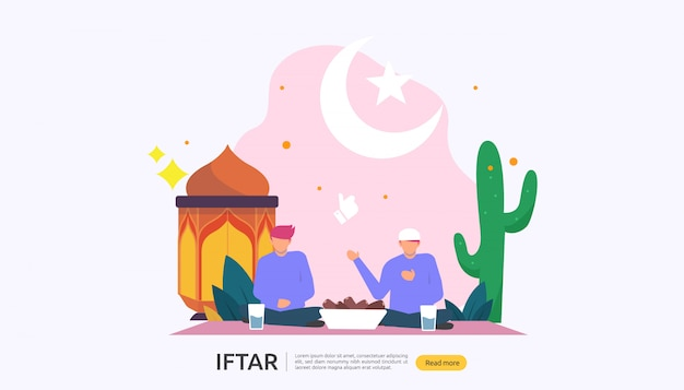 Iftar eating after fasting conceito festa de festa
