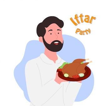 Iftar, partido, homem árabe, segurando, galinha prato