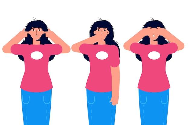 Ignore ou evite conceitos com personagens. não ouça o mal, não veja o mal e não fale o mal. ilustração vetorial.