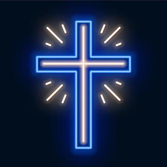Igreja cruz sinal de néon. símbolo brilhante da crucificação.