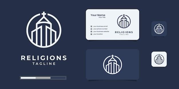 Igreja de arte de linha ou modelo de design de logotipo cristão.