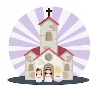 Igreja e meninas com vestido para primeira comunhão