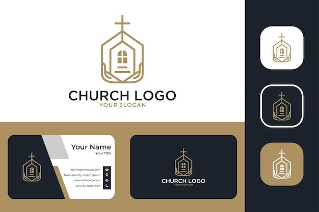 Igreja elegante com construção e design de logotipo à mão e cartão de visita