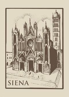 Igreja gotical em siena, tuskany, itália vintage de vista velho
