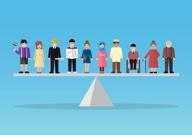 Igualdade de questão social do conceito de pessoas. peopla em pé na escala de equilíbrio. ilustração vetorial