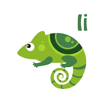 Iguana. alfabeto engraçado, animal