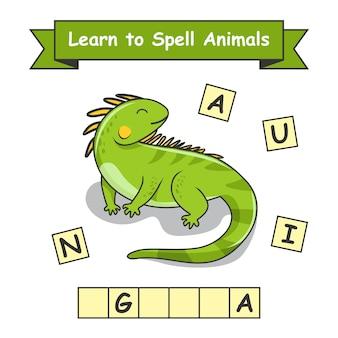 Iguana aprenda a soletrar animais