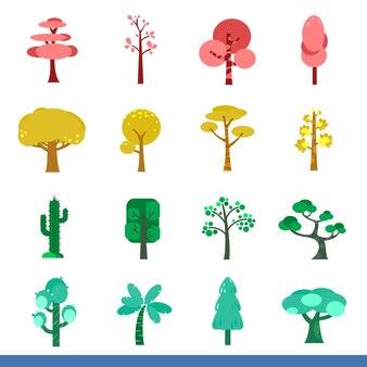 Iicon conjunto de muitas árvores de cor