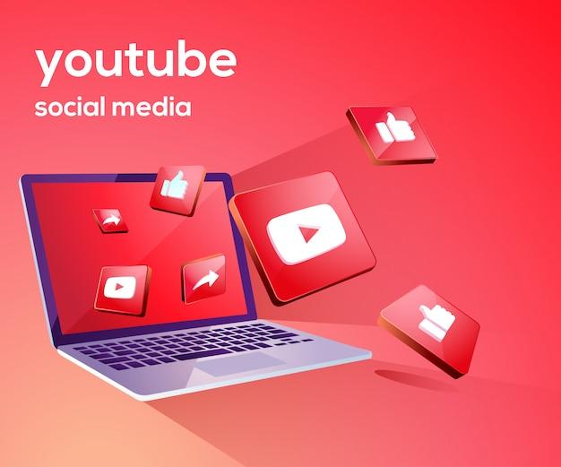 Iicon de mídia social do youtube 3d com laptop dekstop
