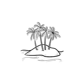 Ilha com ícone de doodle de contorno desenhado de mão de palmeiras. férias de verão, viagens e conceito de praia tropical