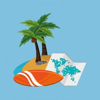 Ilha com imagem de ícones de viagens de férias