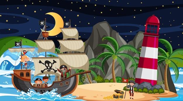 Ilha com o navio pirata na cena noturna em estilo cartoon