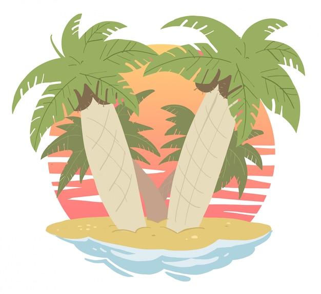 Ilha com palmeiras no oceano
