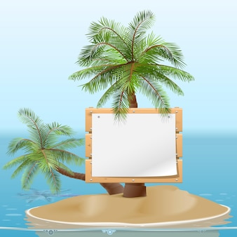 Ilha com tabuleta isolada no fundo branco