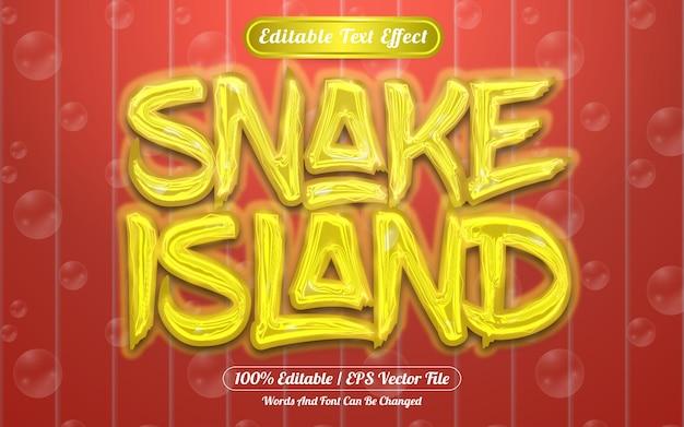 Ilha da cobra com efeito de texto editável luz e bolha temática