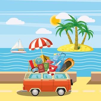 Ilha de conceito de turismo de viagens, estilo cartoon