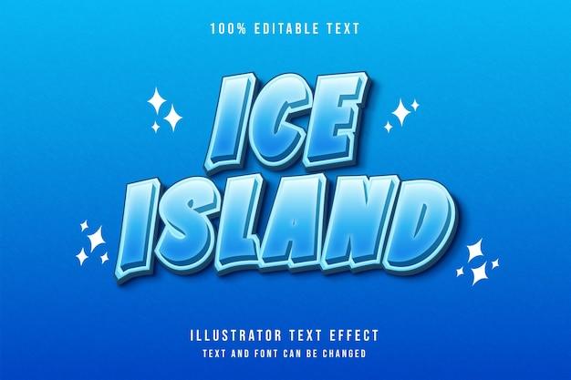 Ilha de gelo 3d com efeito de texto editável e gradação azul estilo moderno