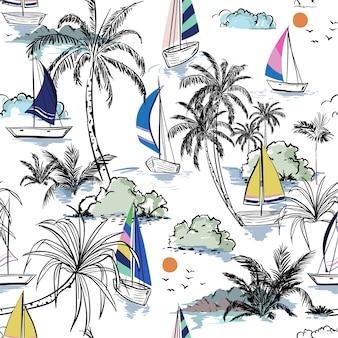 Ilha de padrão sem emenda de praia verão colorido com barco