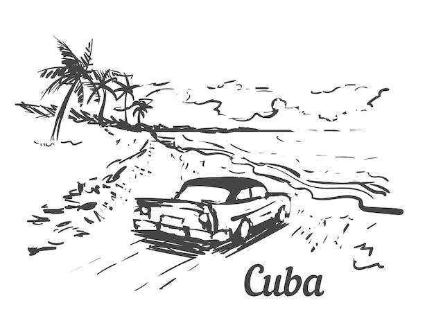 Ilha de palm beach cuba com carro retrô