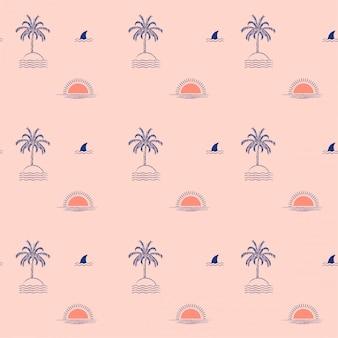 Ilha de palmeira tropical na moda de verão, onda, sol, praia, padrão sem emenda de tubarão de barbatana