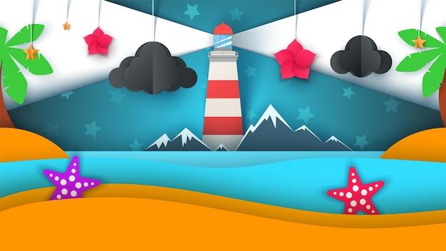 Ilha de papel de desenho animado. praia, palmeira, estrela, nuvem, montanha, lua, mar.