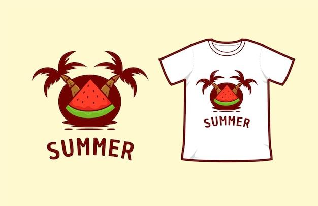 Ilha de praia de verão com coqueiro e ilustração vetorial de fatia de melancia